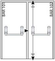 Ручка Антипаника Geze IQ Bar 103 DL для 2-ств. штульповой двери с гориз. 1-точ. и вертик. 2-точ. запиранием*