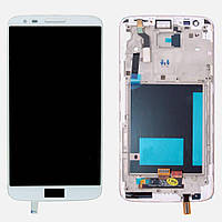 Дисплей (экран) для LG D800 G2, D801, D803 + тачскрин, цвет белый, с передней панелью, оригинал