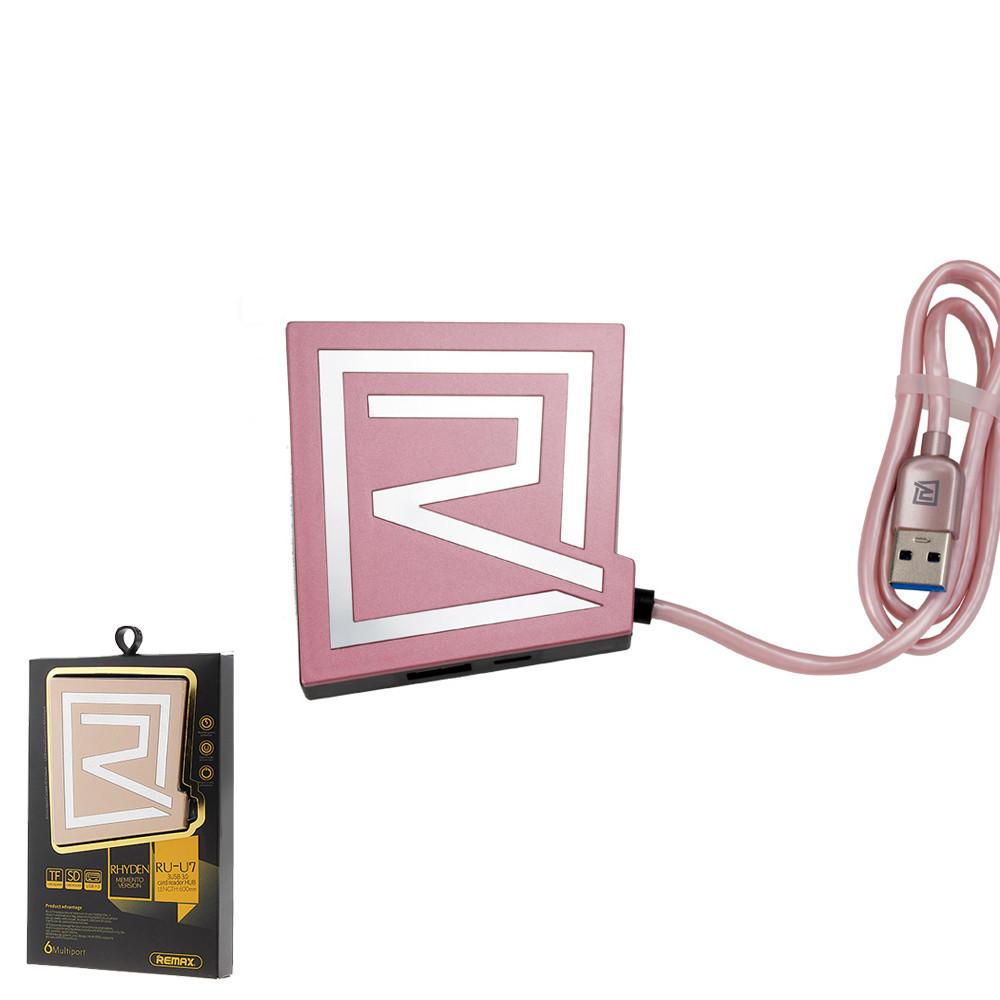 USB-концентратор Rhyden 3U Hub RU-U7(3.0) Pink