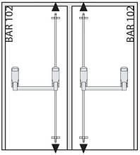 Ручка Антипаника Geze IQ Bar 104 DL для 2-створчатой двери без штульпа с вертикальным 4-точечным запиранием