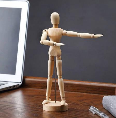 Большой, подвижный, деревянный человек. Деревянная action фигурка на подставке. 32 см!, фото 2