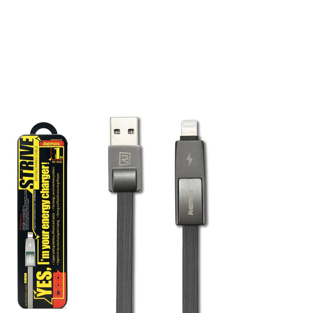 USB кабель Remax Strive 2 in 1 RC-042t Lightning & Micro USB 1m Black
