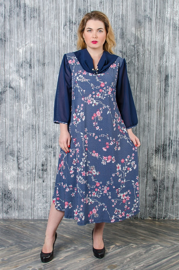 Элегантное платье размер плюс Сакура (62-68)