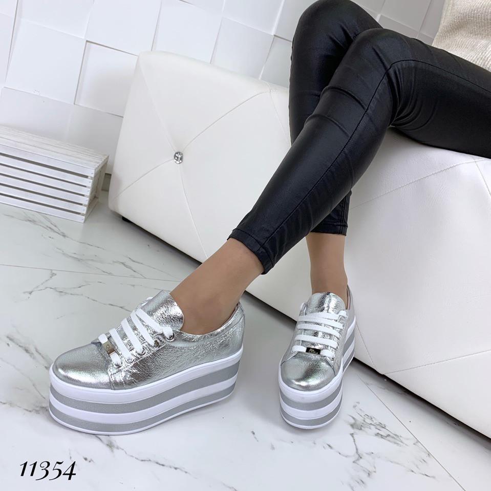 Кроссовки женские кожаные серебряные на высокой платформе, 39 размер - большемерят
