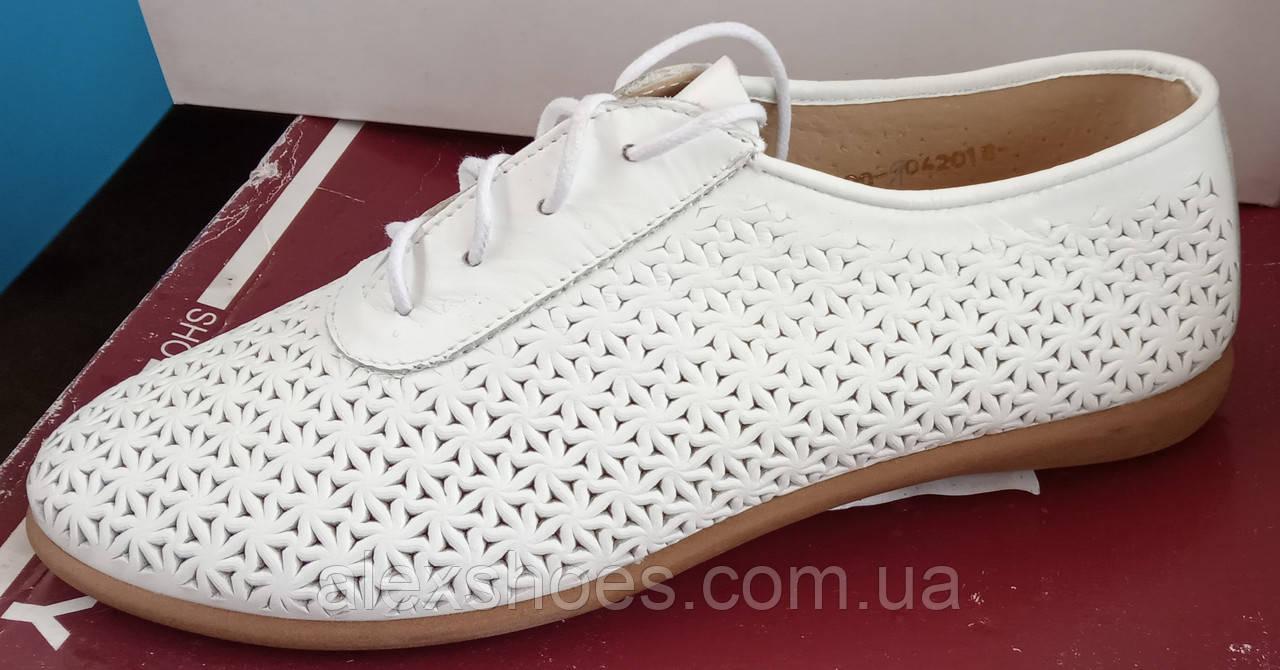 Туфли женские на плоской подошве из натуральной кожи от производителя модель АР490-1