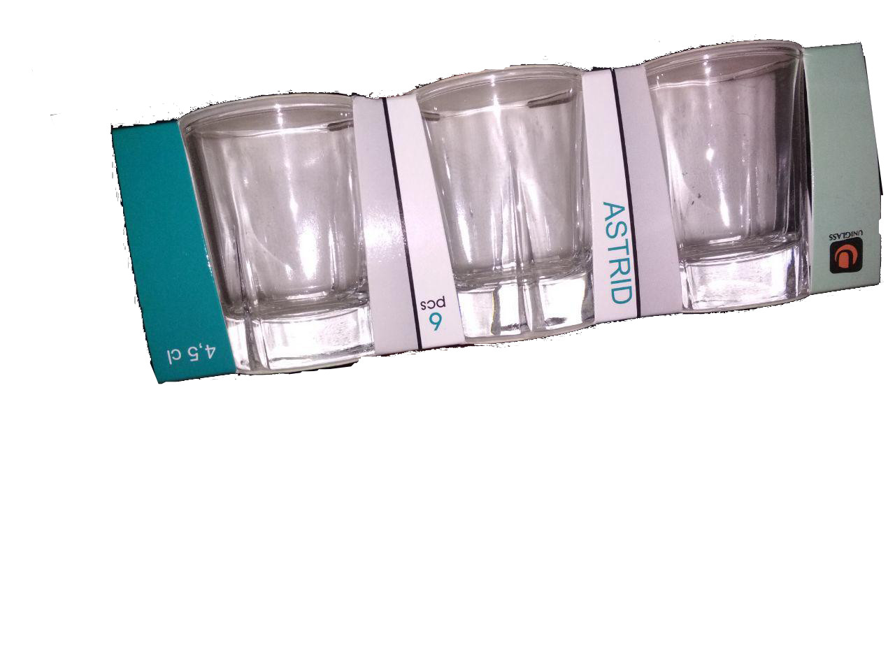 Набор стеклянных рюмок 45 мл 6 шт для водки, шотов UniGlass Astrid