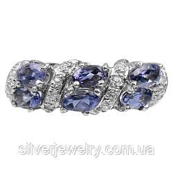 Серебряное кольцо с ИОЛИТОМ (натуральный), серебро 925 пр. Размер 16,75