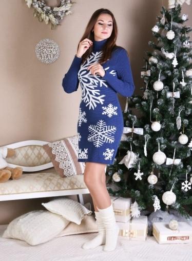 Теплое вязаное платье женское Снежинка, плотная вязка