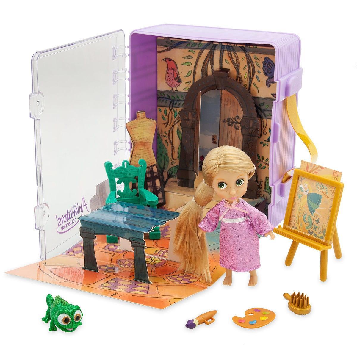 Disney animators мини аниматоры Рапунцель с хамелеоном Паскалем в чемоданчике collection mini doll play set