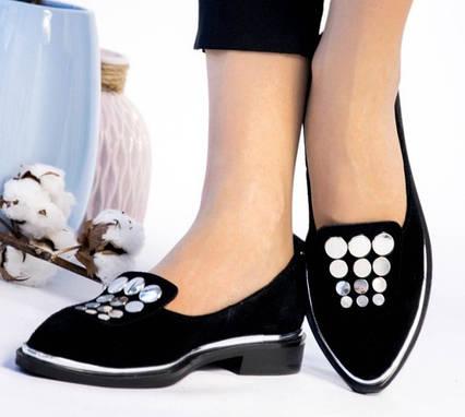 Балетки, туфли замшевые женские черные