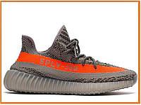 Мужские кроссовки Adidas Yeezy Boost 350 V2 Beluga (адидас изи 350, серые / оранжевые)