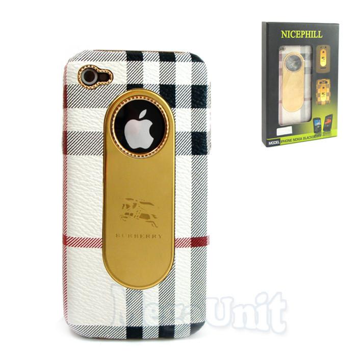 Nicephill Гламурный чехол для Apple iPhone 4 #Burberry white