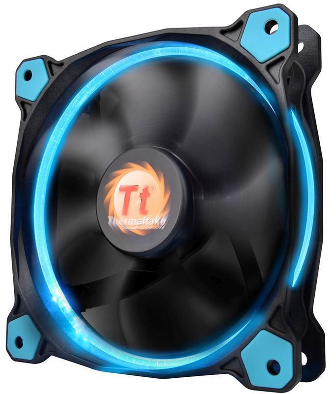 Вентилятор Thermaltake Riing 12 LED Blue (CL-F038-PL12BU-A), 120х120х25 мм, 3pin, черный