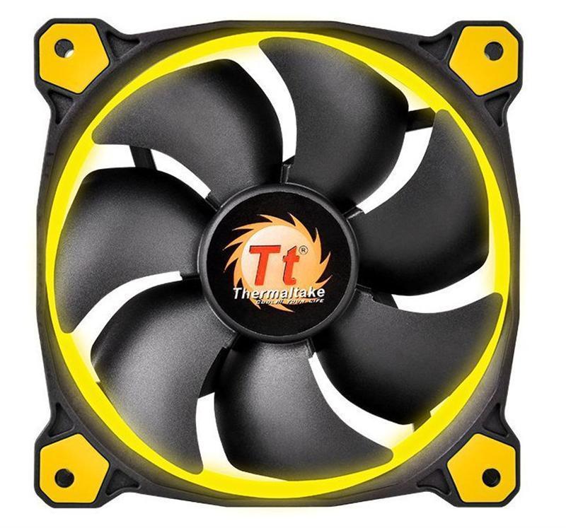 Вентилятор Thermaltake Riing 14 LED Yellow (CL-F039-PL14YL-A), 140х140х25 мм, 3pin, черный