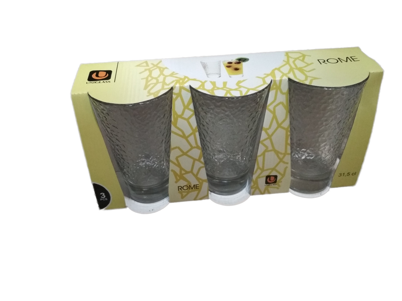 Набор стаканов 315 мл 3 шт высоких стеклянных для рома UniGlass ROME