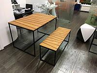 Стол обеденный со скамьей GoodsMetall в стиле Лофт НК1