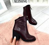 Ботинки женские на каблуке кожа черные марсала TOPs1478