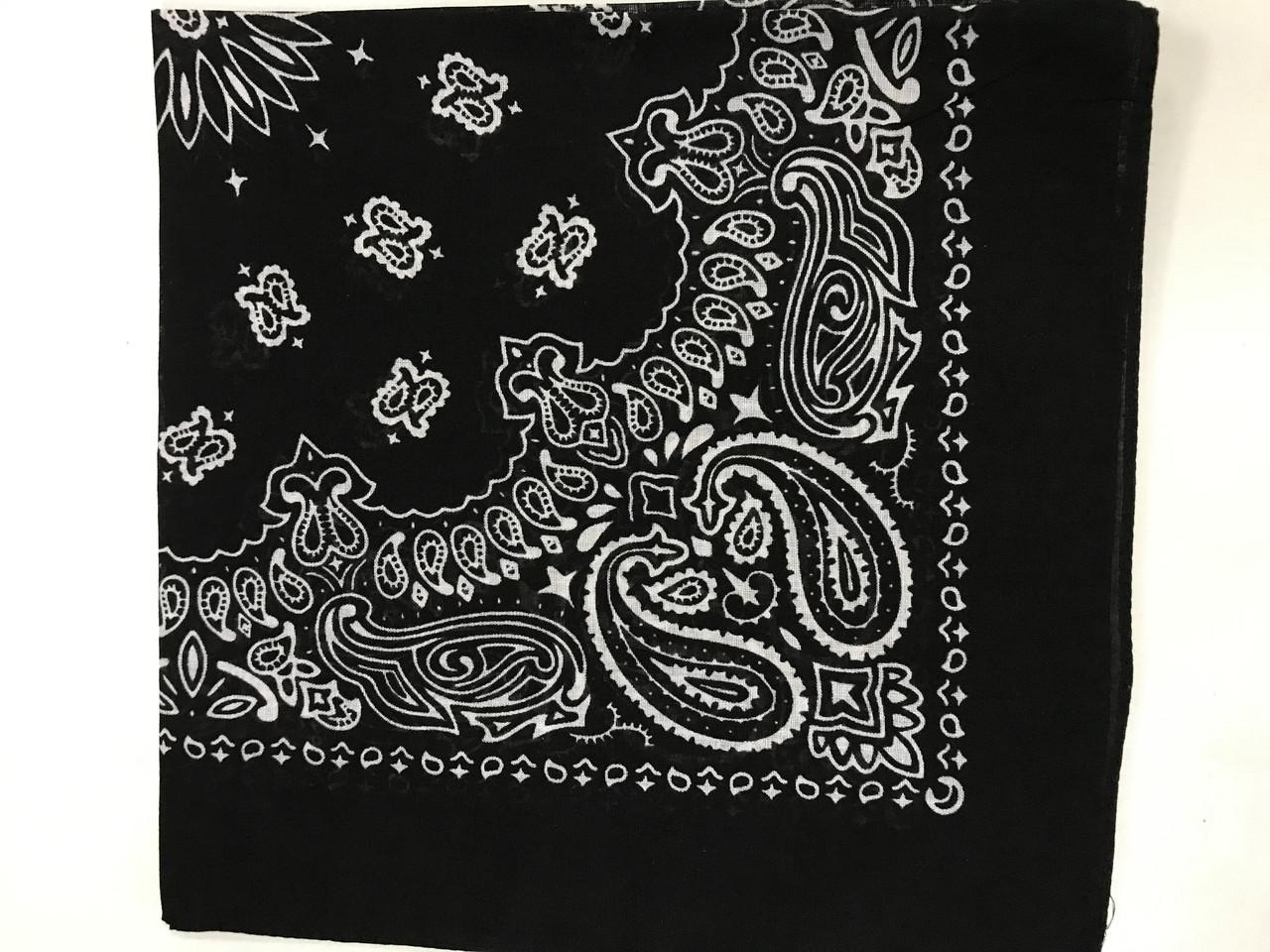Летняя хлопковая чёрная бандана - платок с рисунком