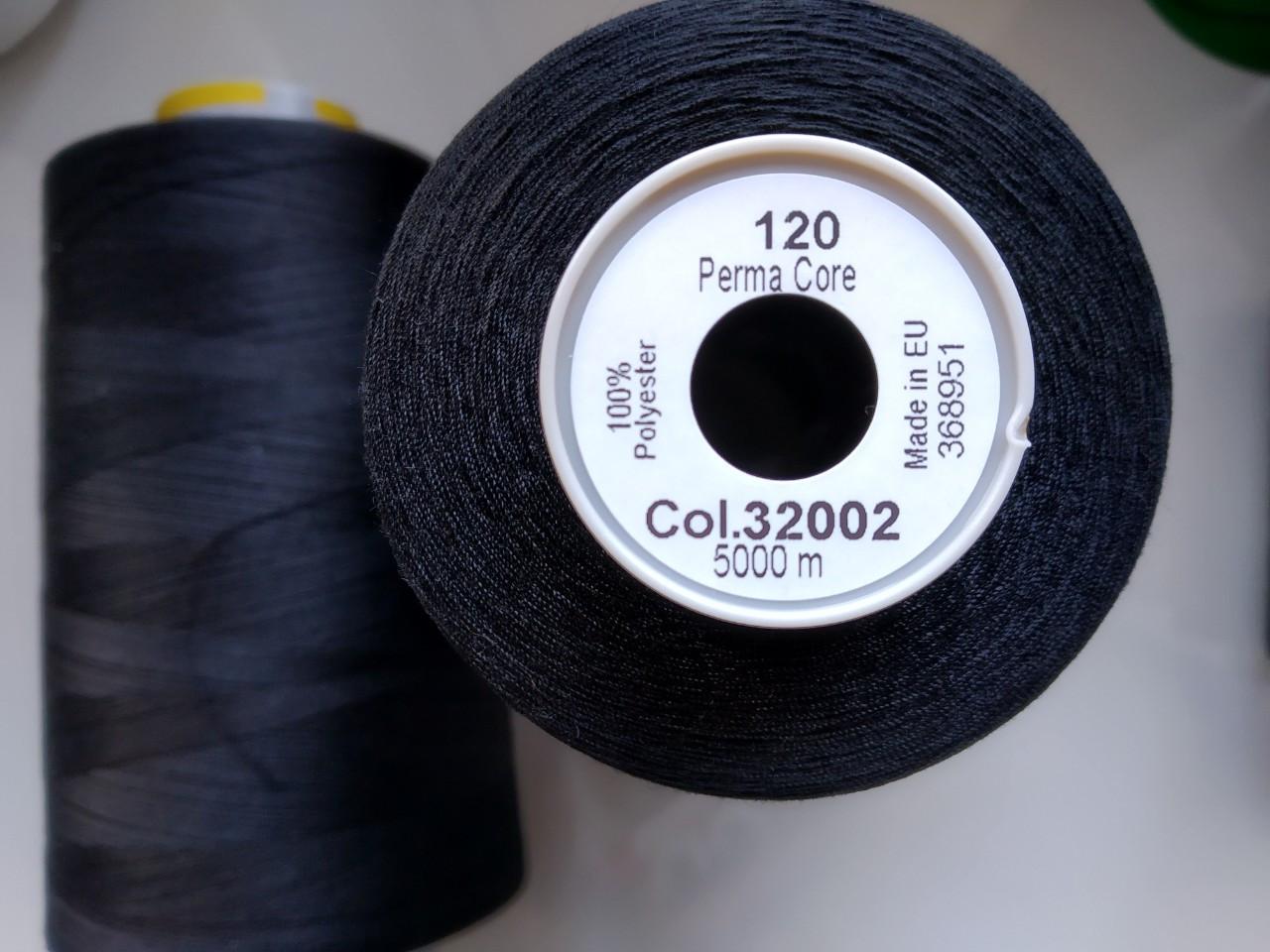 Нитки армовані  Gutermann Perma Core 32002 /120 /5000м чорний