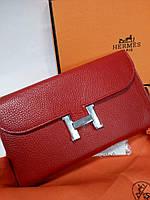 a1aeaa281d19 Женский большой кожаный кошелек Hermes Original quality цвет красный