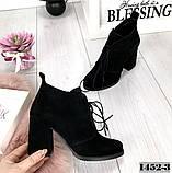 Стильные черные замшевые ботильоны на обтяжном каблуке шнуровке, фото 3