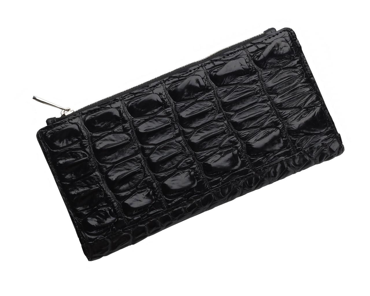 Кошелек из кожи крокодила на молнии Ekzotic Leather Черный (cw 80)