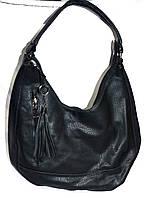 Сумка торбочка женская 30*24 см с кисточкой черная