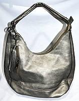 Сумка торбочка женская 30*24 см с кисточкой графитовая
