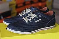 Мужские легкие кожаные летние кроссовки Clubshoes в дырочку синего цвета размеры 40 41 42 43 44 45