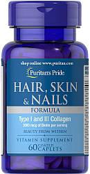 Витамины Puritan's Pride Hair Skin and Nails Formula Type 1 and 3 Collagen 60 tabs