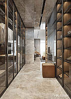 Гардеробная комната на заказ с фасадами стекло, подсветкой и ящиками