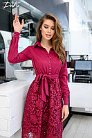 Красивое платье с напылением, италь. кружево Размер 42-44,46-48 Цвета - индиго. малина. горчица. бутылка