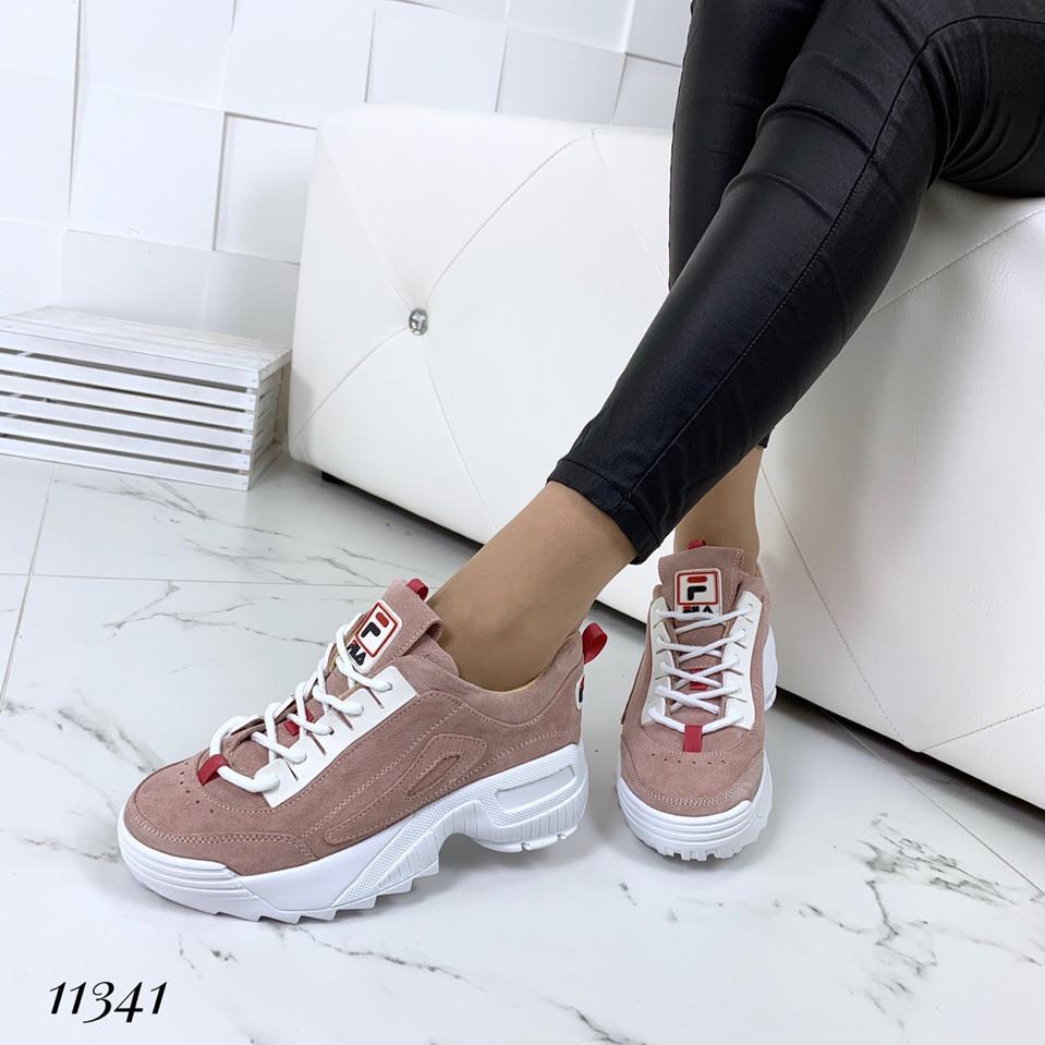 Пудровые замшевые кроссовки