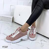 Пудровые замшевые кроссовки , фото 1