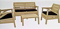 "Комплект садовой мебели ""Miami Set"" Irak Plastik, Турция (стол, 2 кресла, софа 2-х местн.) бежевый"