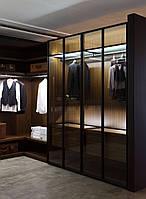 Шкаф Гардеробная комната на заказ с фасадами стекло, подсветкой и ящиками