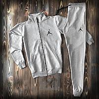 Сірий чоловічий спортивний костюм Air Jordan Джордан на блискавці олімпійка і штани (РЕПЛІКА)
