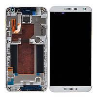 Дисплей (экран) для HTC Desire 620G Dual Sim + тачскрин, серый, с передней панелью белого цвета