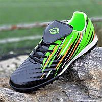 Подростковые сороконожки, бампы, кроссовки для футбола на мальчика черные зеленые удобные (Код: Ш1387)
