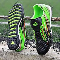 Подростковые сороконожки, бампы, кроссовки для футбола на мальчика черные зеленые удобные (Код: Т1387а) 39