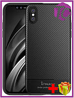 Чехол-накладка Ipaky Carbon Fiber Series/ TPU Case with Carbon Fiber Pattern iPhone Xs Max Black
