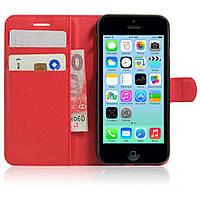 Чехол-книжка Litchie Wallet для Apple iPhone 5C Красный