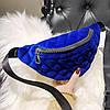 Классическая женская сумка бананка, Синяя