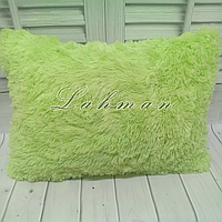 Чехол для подушки травка  50х70 см. | Декоративные пушистые наволочки для интерьера, цвет салатовый