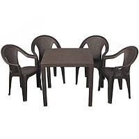 """Набор пластиковой мебели Ost-Fran """"King Ischia"""" коричневый ротанг"""