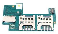 Разьем сим карты (на плате) и карты памяти для Sony C2305 Xperia C S39h/C2306, на шлейфе, на две Sim-карты