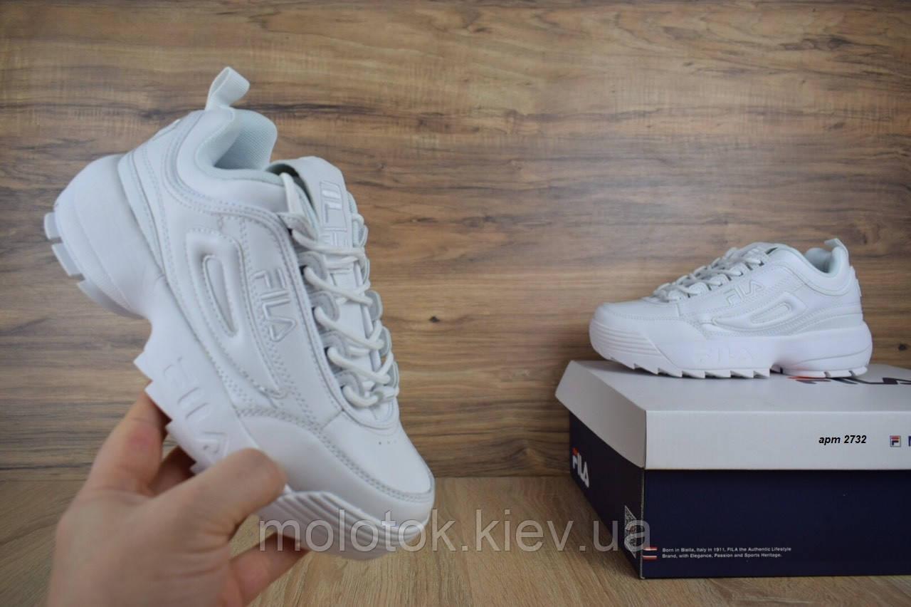 f2c0e3e1e Женские кроссовки Fila Disruptor 2 белые полностью Реплика отличного  качества