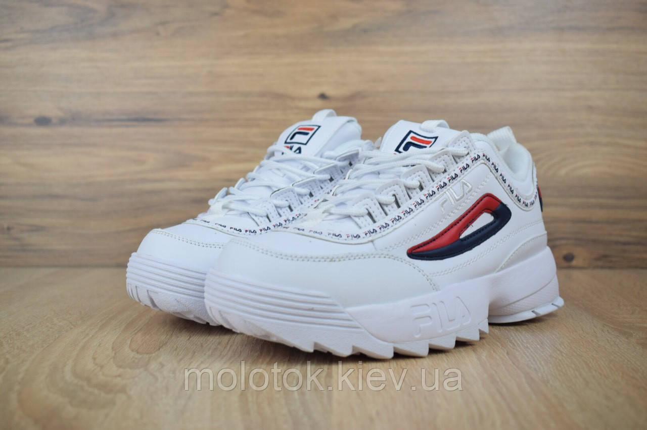 addec9d72 Женские кроссовки Fila Disruptor 2 белые с цветным ободком Реплика  отличного качества