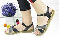 Женские стильные черные босоножки Elen 1051