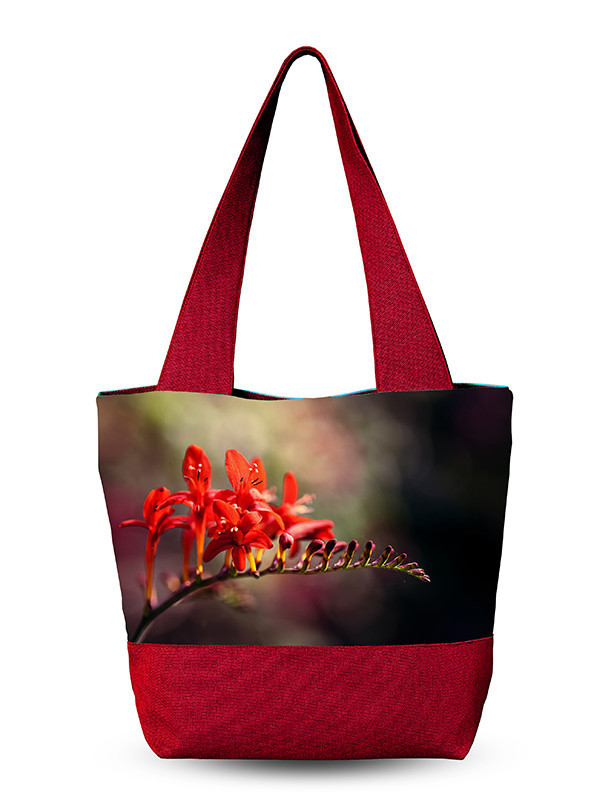 Дамская сумка с 3D рисунком Красный цветок